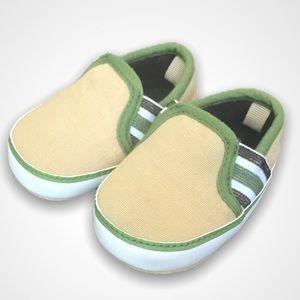 Beige Army Green Baby Slip Ons